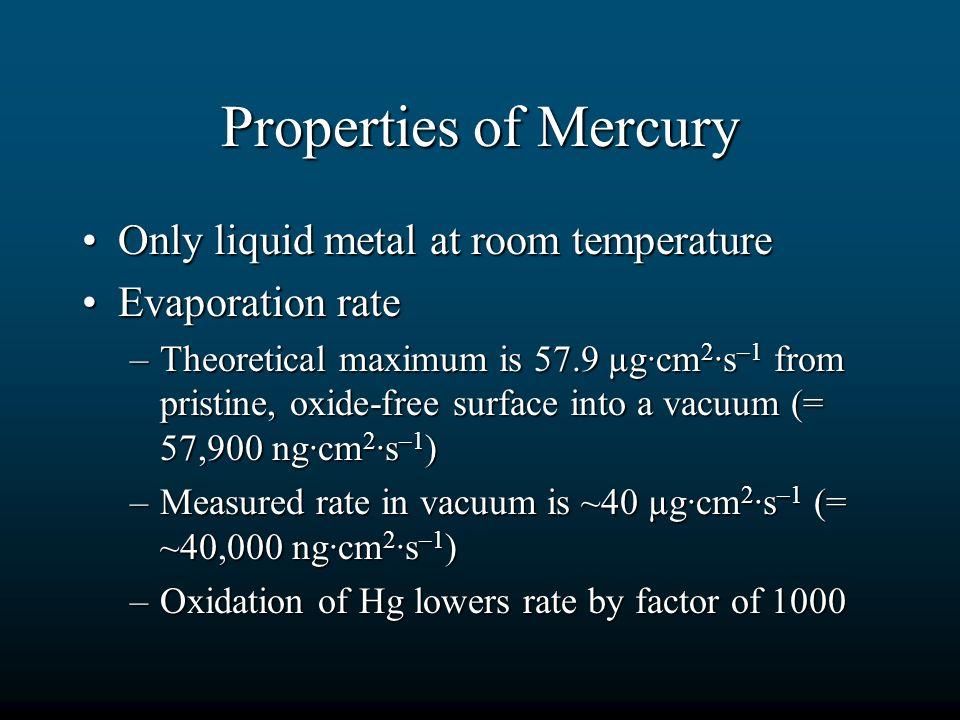 Properties of Mercury Only liquid metal at room temperature