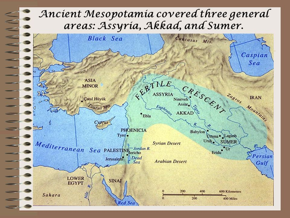 Ancient Mesopotamia covered three general areas: Assyria, Akkad, and Sumer.