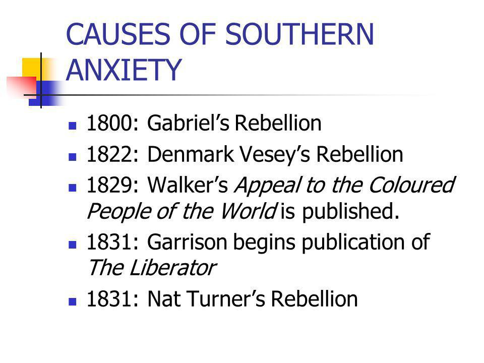 CAUSES OF SOUTHERN ANXIETY