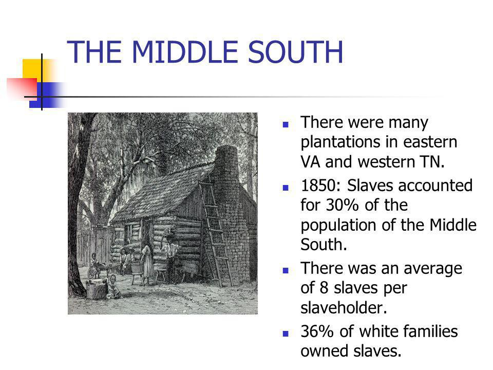 THE MIDDLE SOUTH There were many plantations in eastern VA and western TN. 1850: Slaves accounted for 30% of the population of the Middle South.