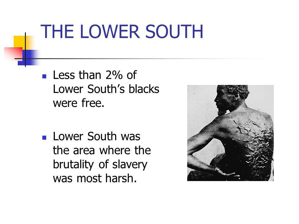 THE LOWER SOUTH Less than 2% of Lower South's blacks were free.