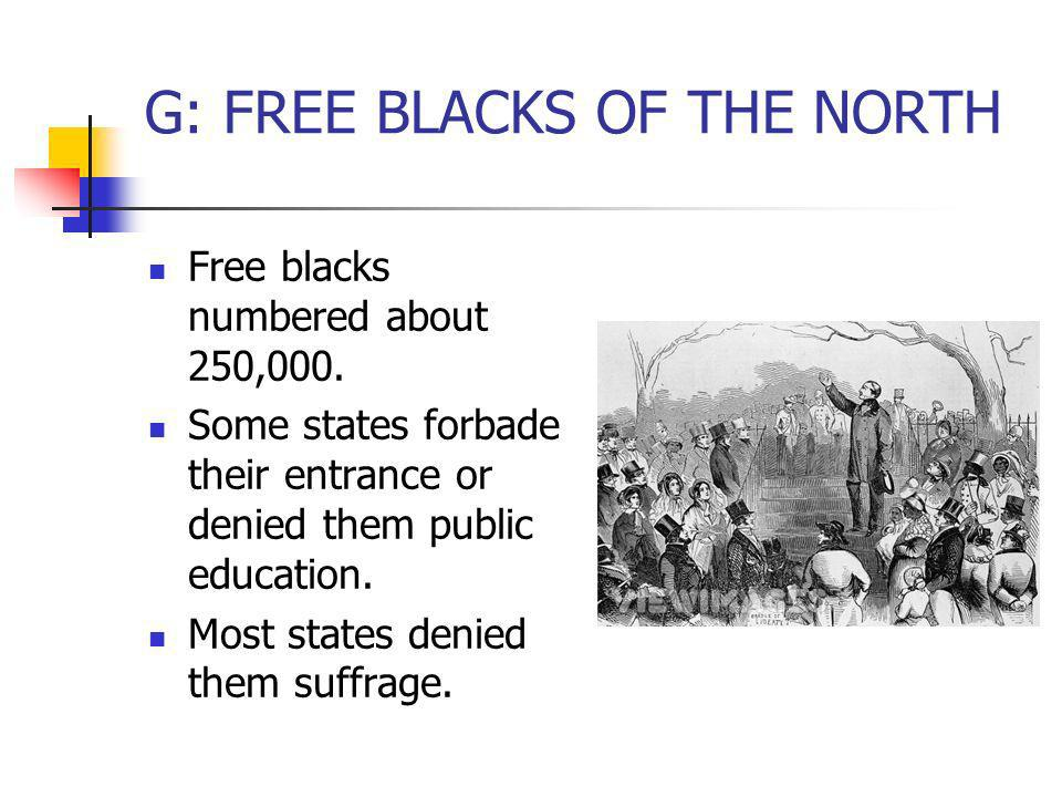 G: FREE BLACKS OF THE NORTH