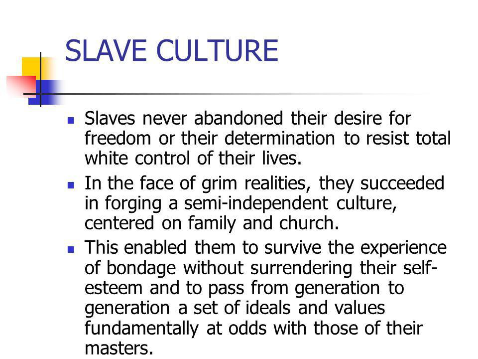 SLAVE CULTURESlaves never abandoned their desire for freedom or their determination to resist total white control of their lives.