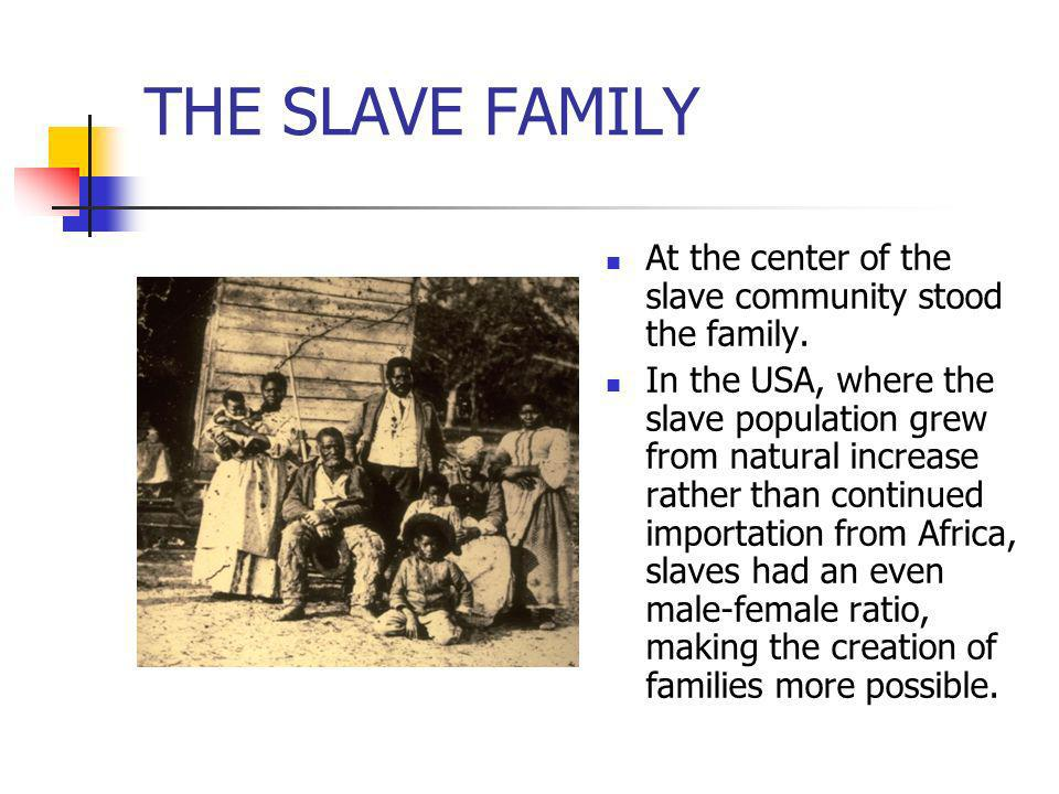 THE SLAVE FAMILYAt the center of the slave community stood the family.