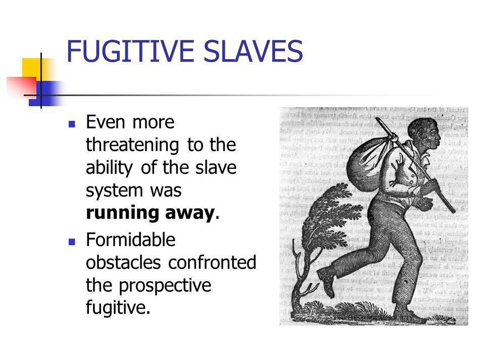 FUGITIVE SLAVESEven more threatening to the ability of the slave system was running away.