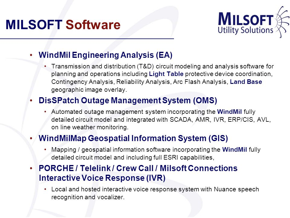 MILSOFT Software WindMil Engineering Analysis (EA)