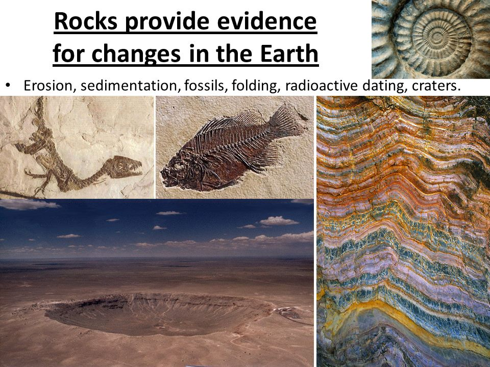 Rocks provide evidence for changes in the Earth