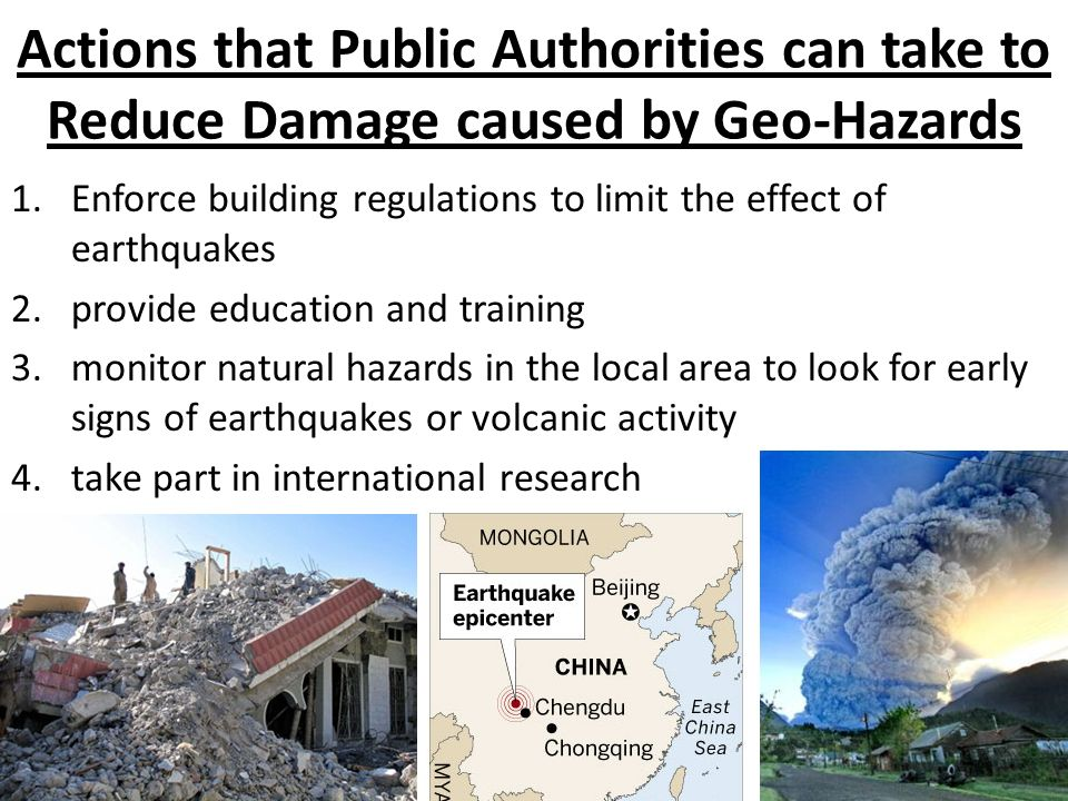 Actions that Public Authorities can take to Reduce Damage caused by Geo-Hazards