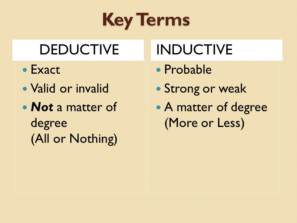 Key Terms DEDUCTIVE INDUCTIVE Exact Valid or invalid