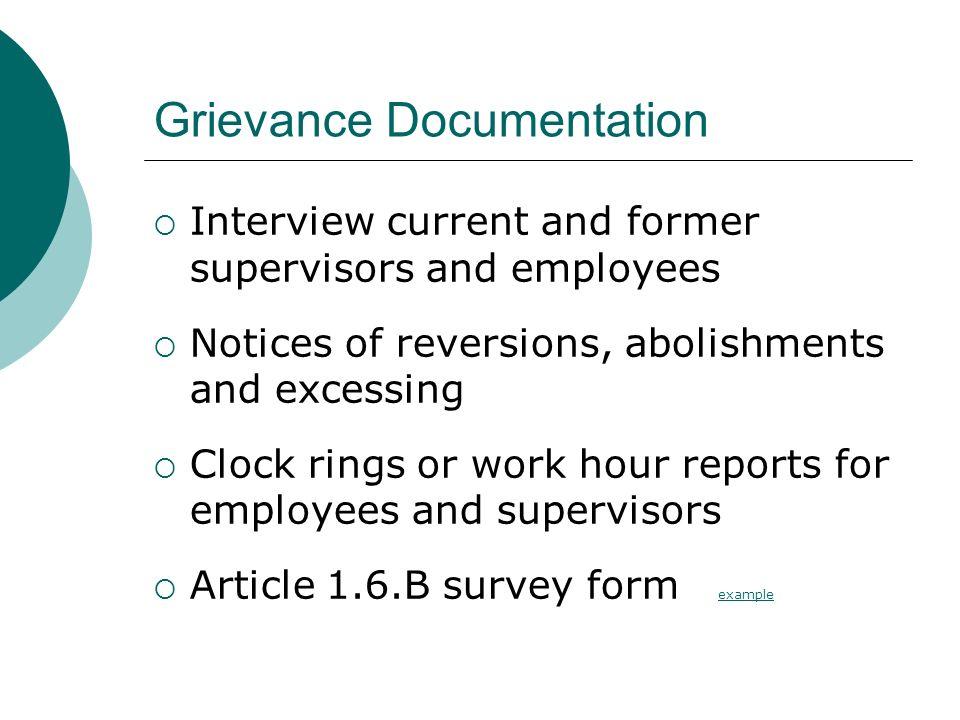 Grievance Documentation