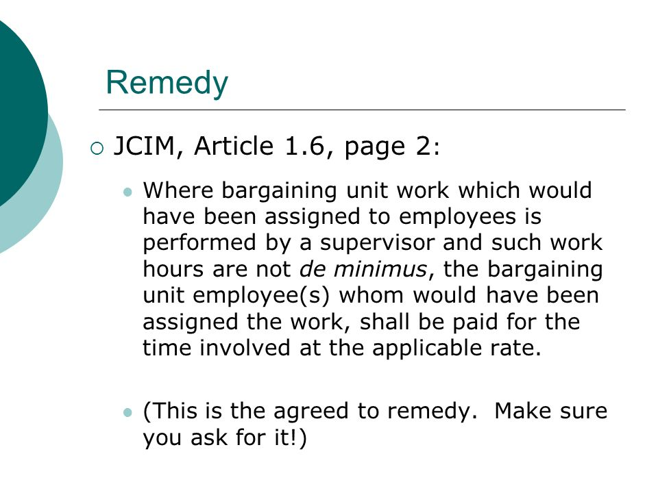 Remedy JCIM, Article 1.6, page 2: