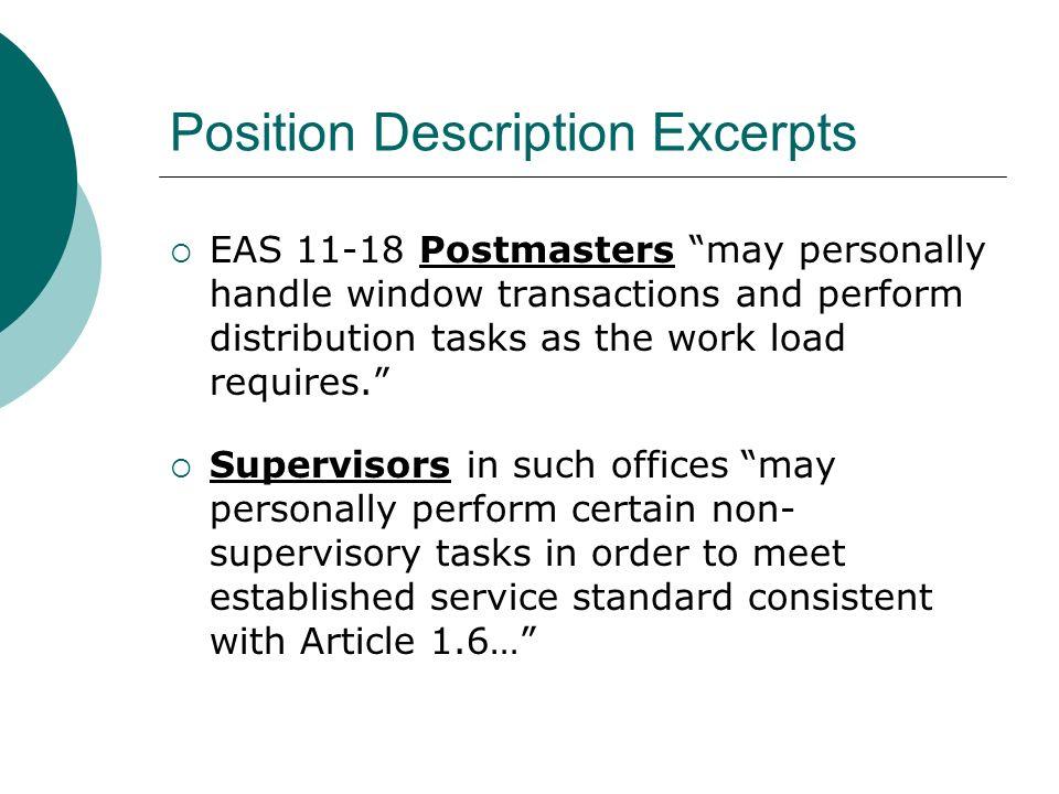 Position Description Excerpts