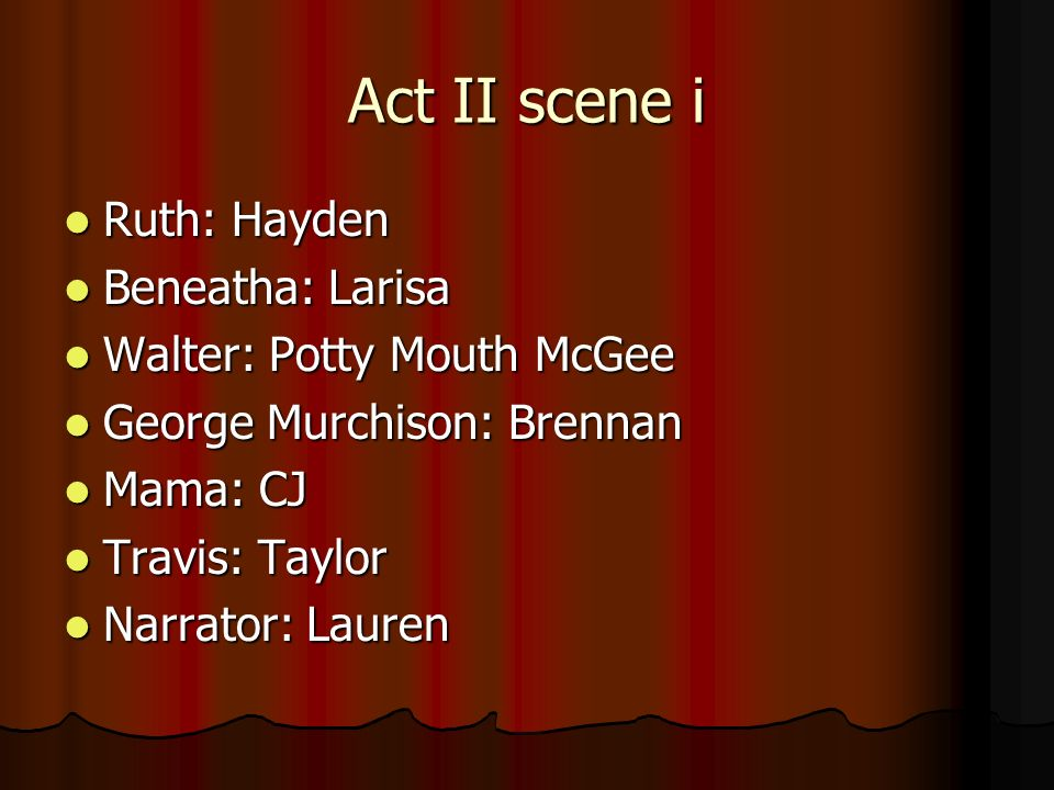 Act II scene i Ruth: Hayden Beneatha: Larisa Walter: Potty Mouth McGee