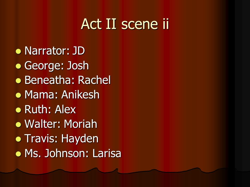 Act II scene ii Narrator: JD George: Josh Beneatha: Rachel