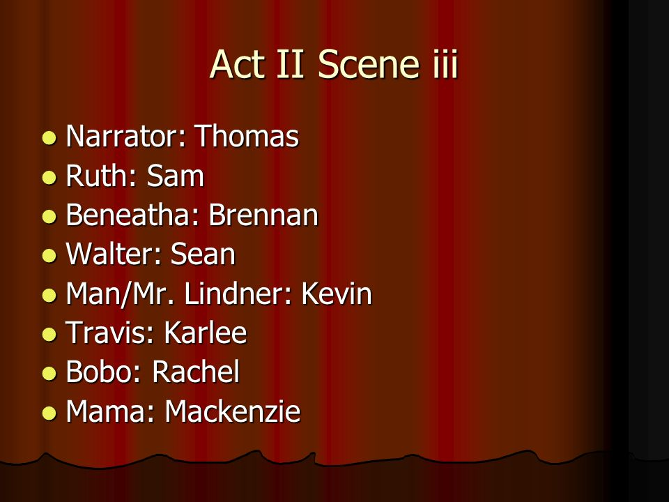 Act II Scene iii Narrator: Thomas Ruth: Sam Beneatha: Brennan