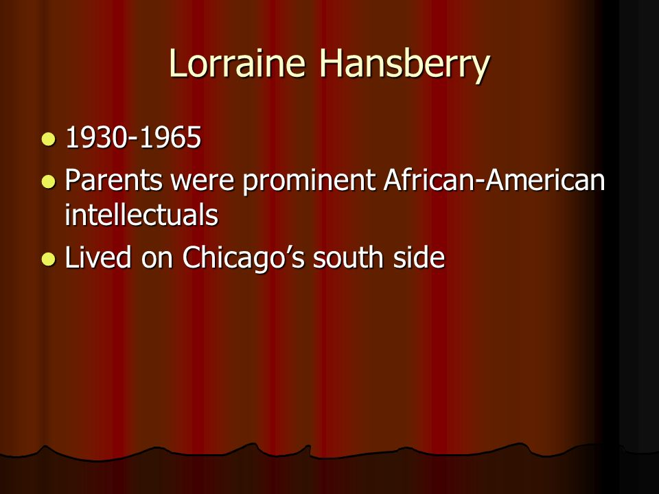 Lorraine Hansberry 1930-1965. Parents were prominent African-American intellectuals.