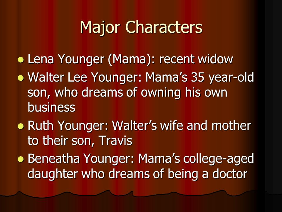 Major Characters Lena Younger (Mama): recent widow
