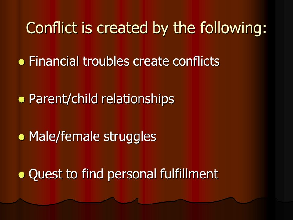 Conflict is created by the following: