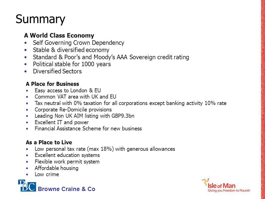 Summary A World Class Economy Self Governing Crown Dependency