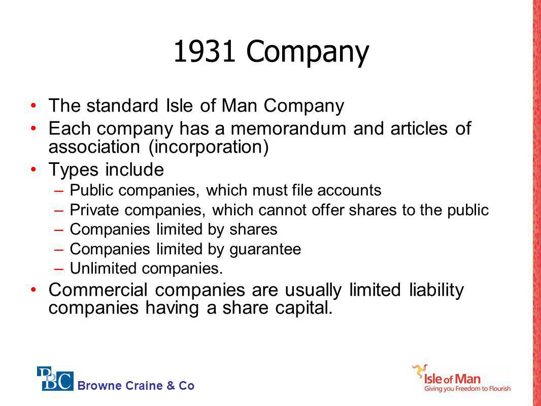 1931 Company The standard Isle of Man Company