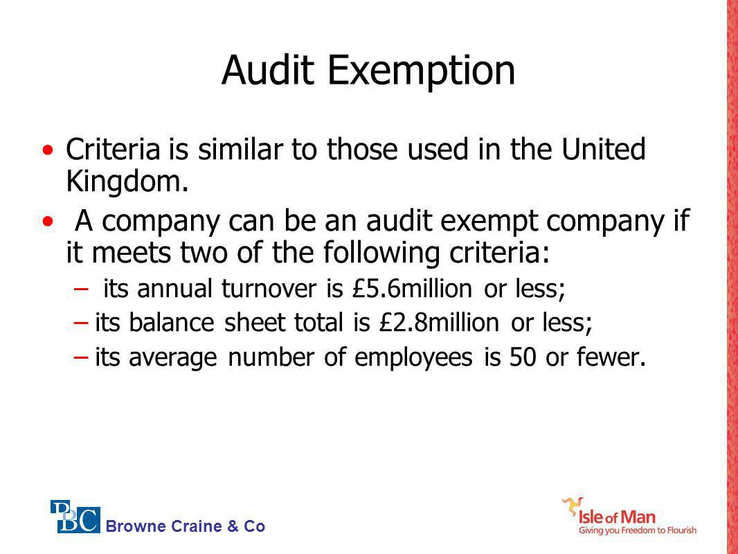 Audit ExemptionCriteria is similar to those used in the United Kingdom.