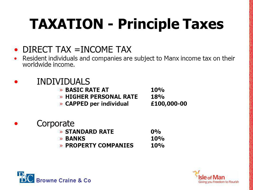 TAXATION - Principle Taxes