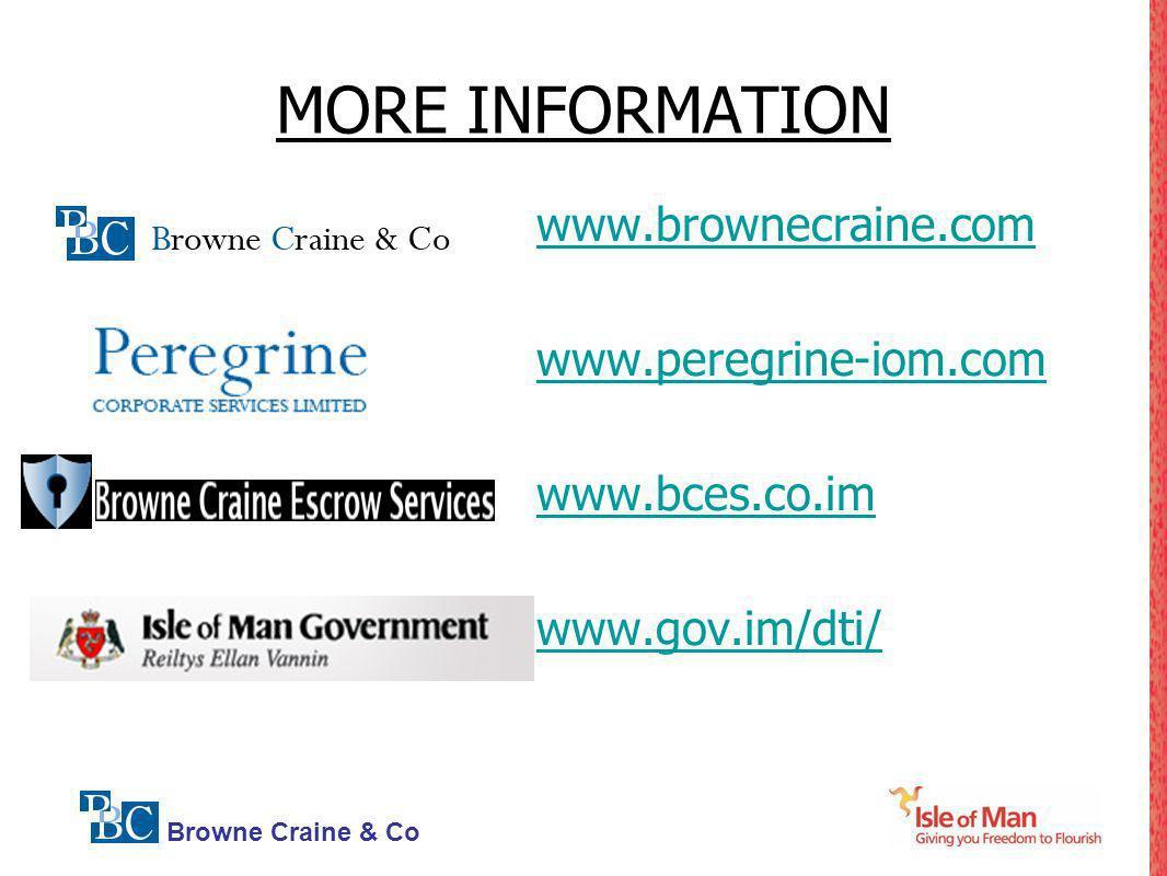 MORE INFORMATION www.brownecraine.com www.peregrine-iom.com