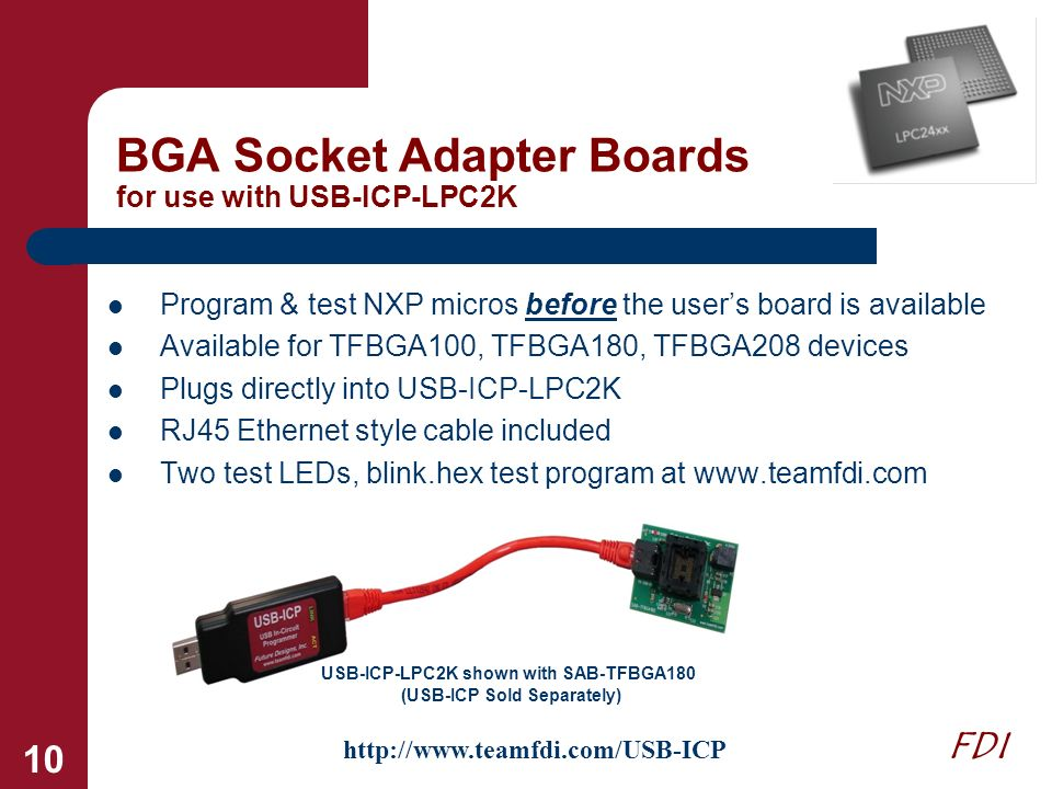 BGA Socket Adapter Boards for use with USB-ICP-LPC2K