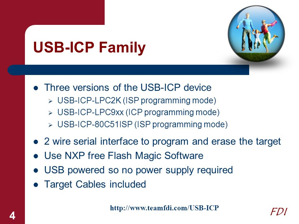 USB-ICP Family Three versions of the USB-ICP device