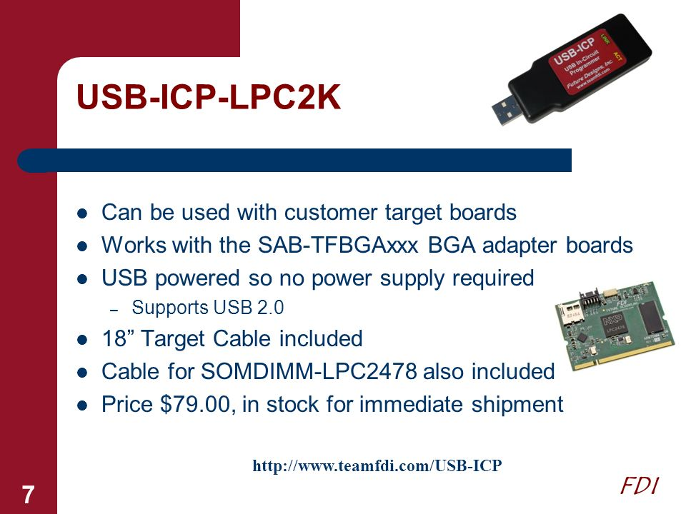USB-ICP-LPC2K Can be used with customer target boards