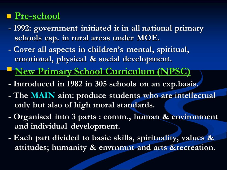 New Primary School Curriculum (NPSC)