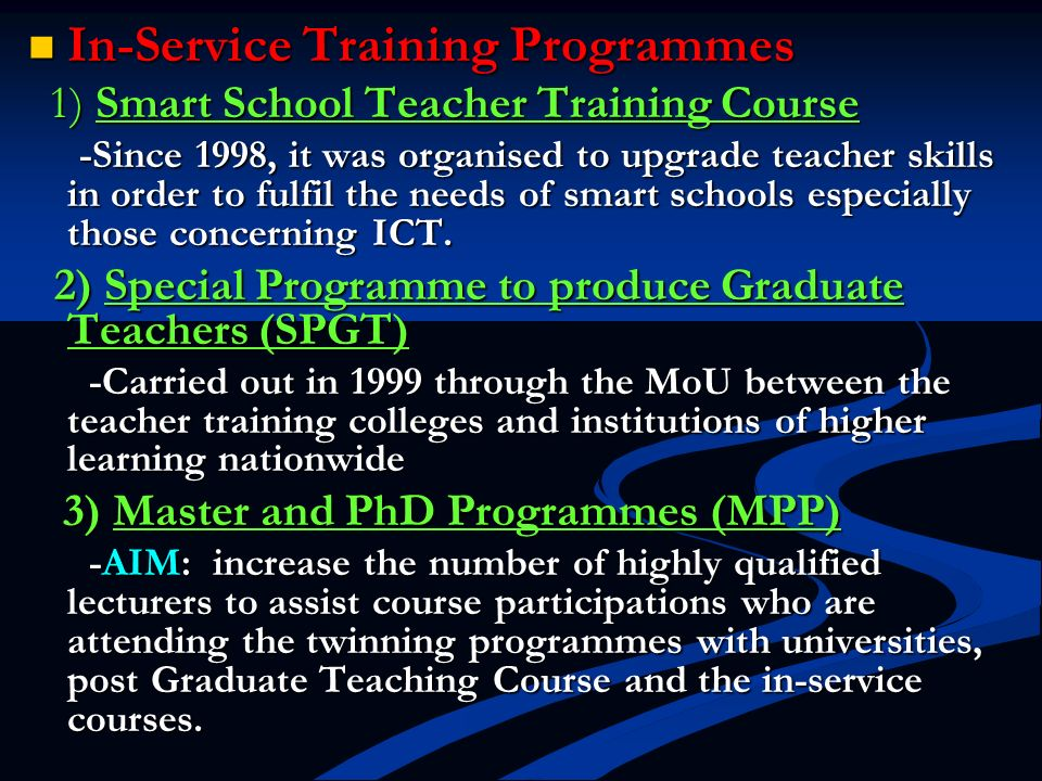In-Service Training Programmes