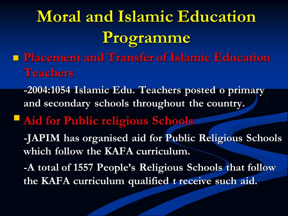 Moral and Islamic Education Programme