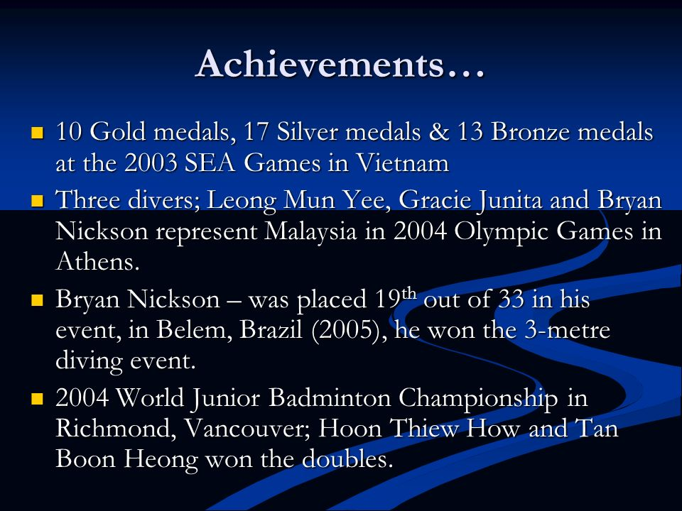 Achievements… 10 Gold medals, 17 Silver medals & 13 Bronze medals at the 2003 SEA Games in Vietnam.