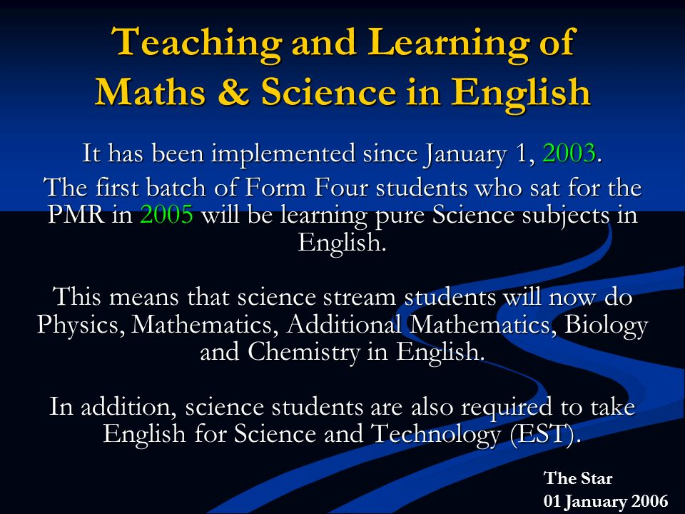 Teaching and Learning of Maths & Science in English