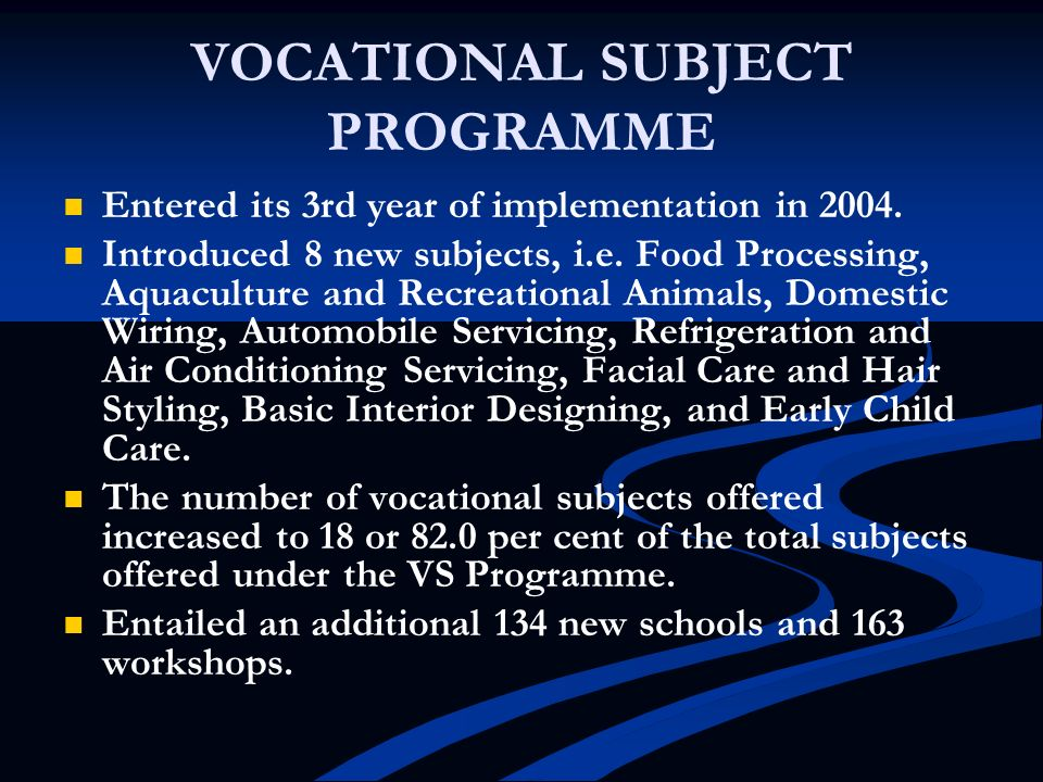 VOCATIONAL SUBJECT PROGRAMME