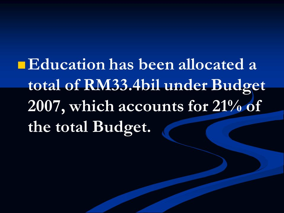 Education has been allocated a total of RM33
