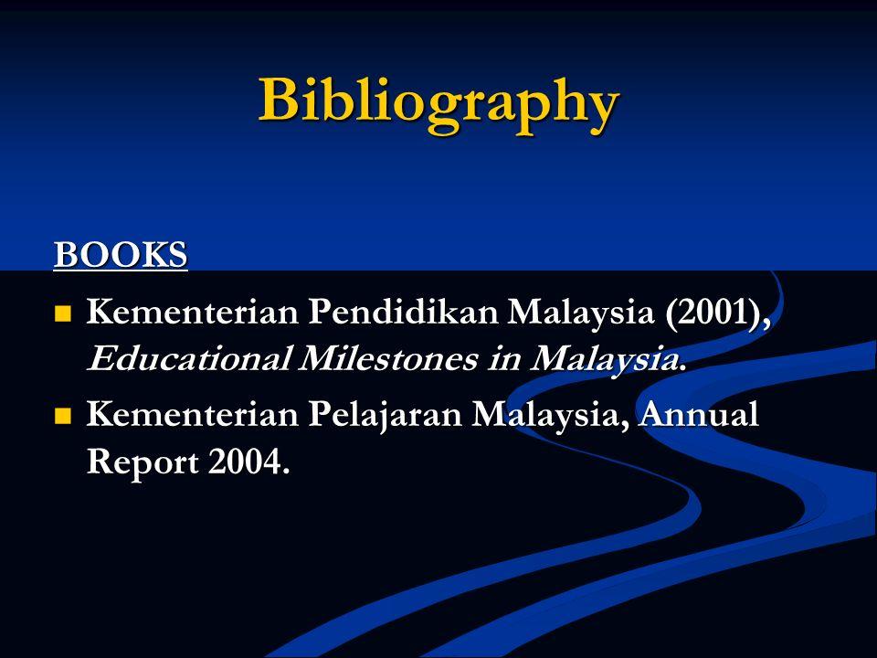 Bibliography BOOKS. Kementerian Pendidikan Malaysia (2001), Educational Milestones in Malaysia.