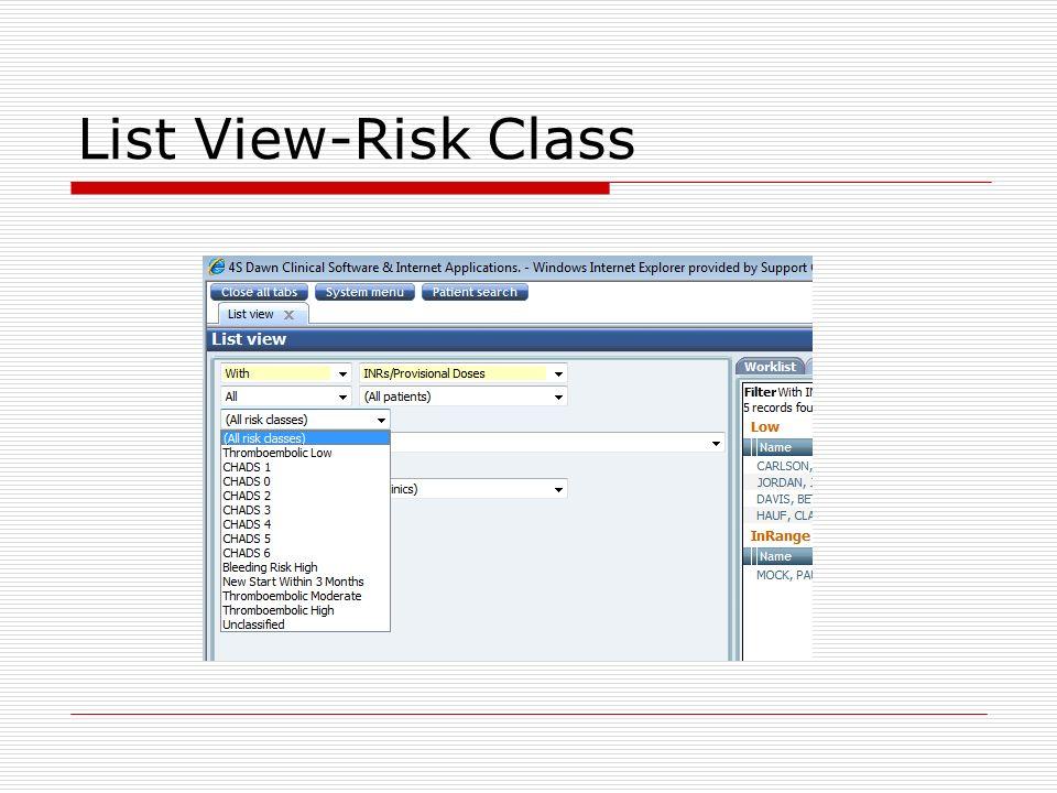 List View-Risk Class