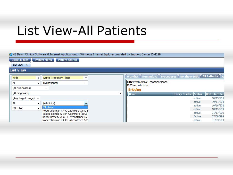 List View-All Patients