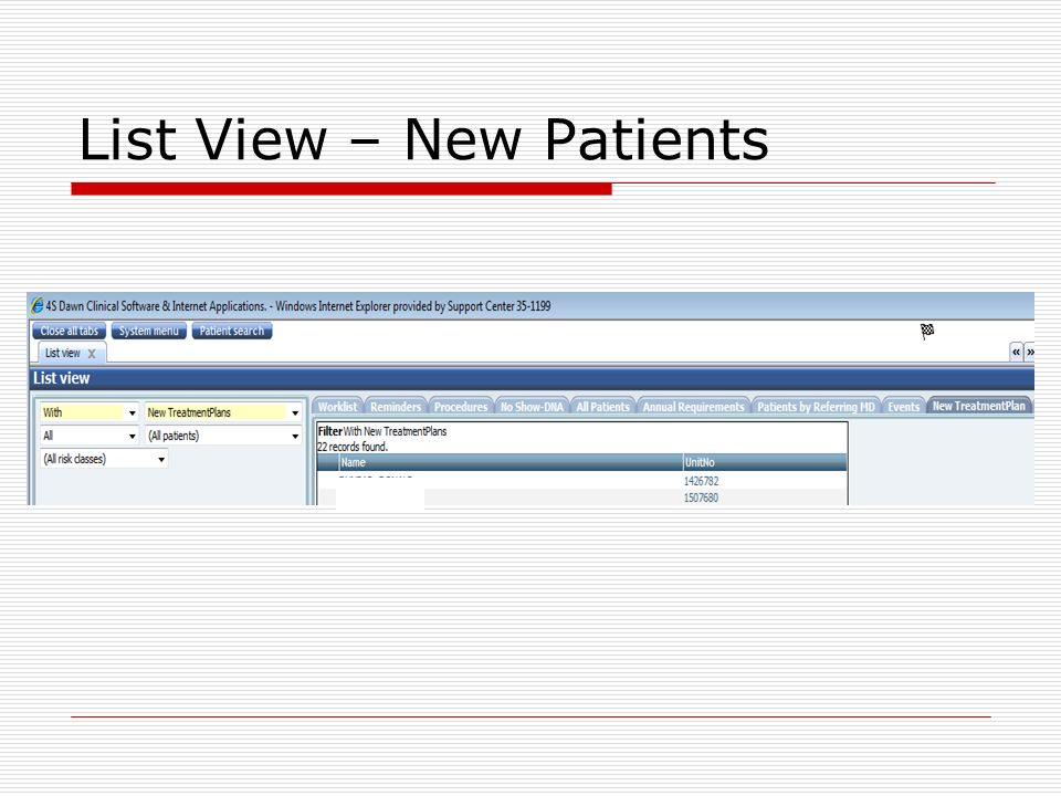 List View – New Patients