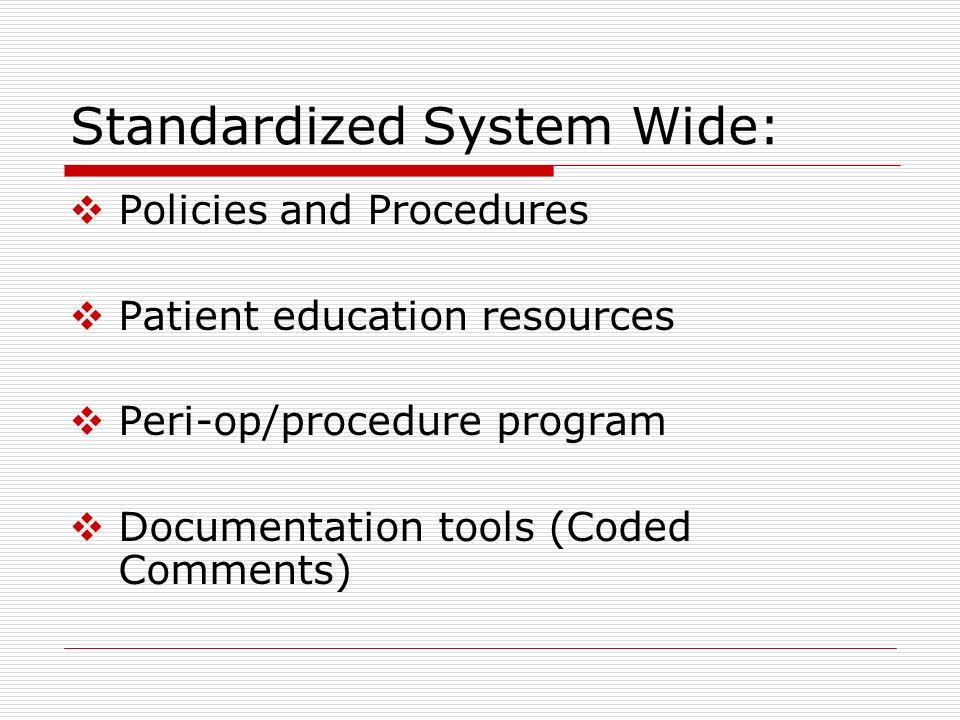 Standardized System Wide: