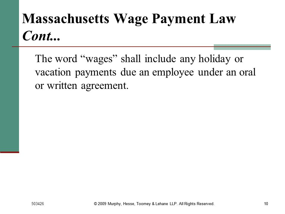 Massachusetts Wage Payment Law Cont...