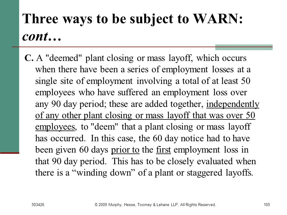Three ways to be subject to WARN: cont…