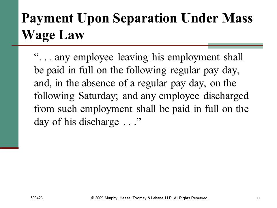 Payment Upon Separation Under Mass Wage Law