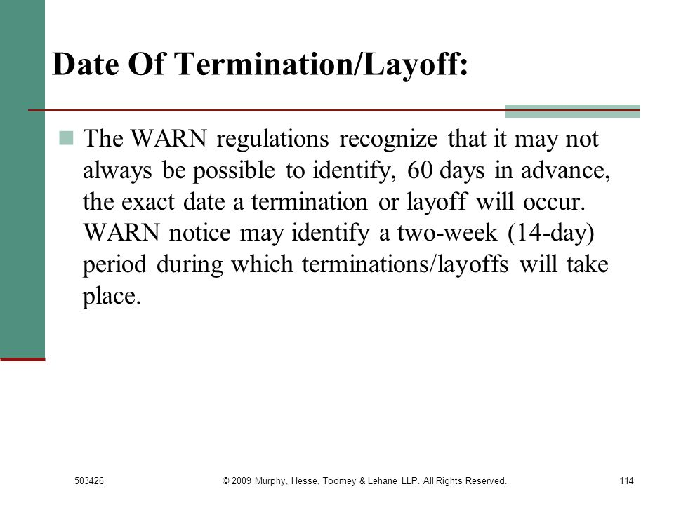 Date Of Termination/Layoff: