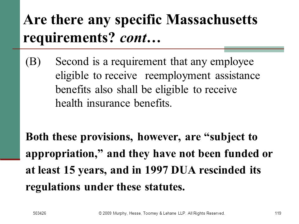 Are there any specific Massachusetts requirements cont…
