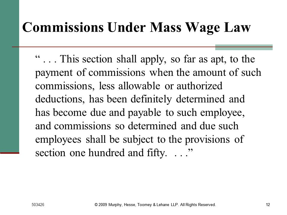 Commissions Under Mass Wage Law