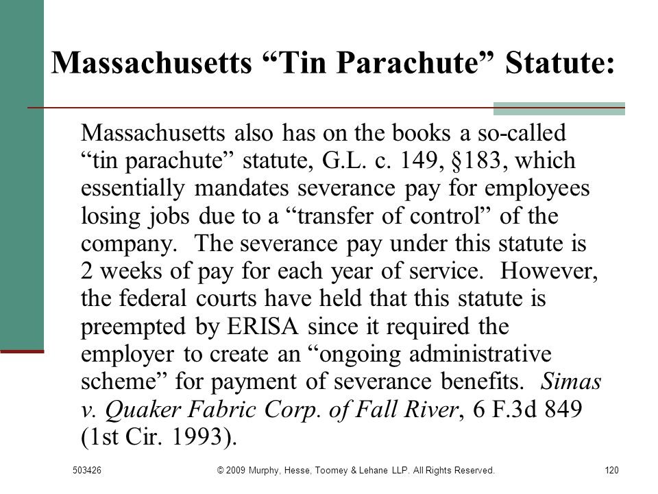 Massachusetts Tin Parachute Statute:
