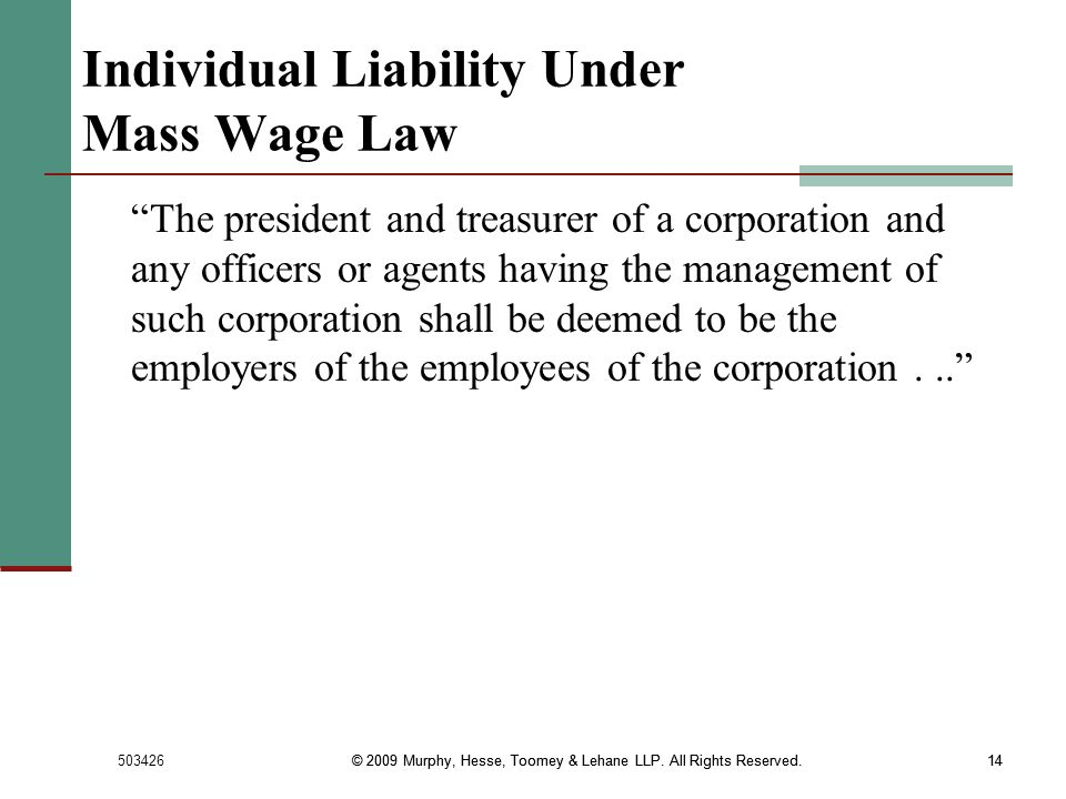 Individual Liability Under Mass Wage Law